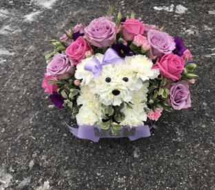 Flower memorial for deceased pet